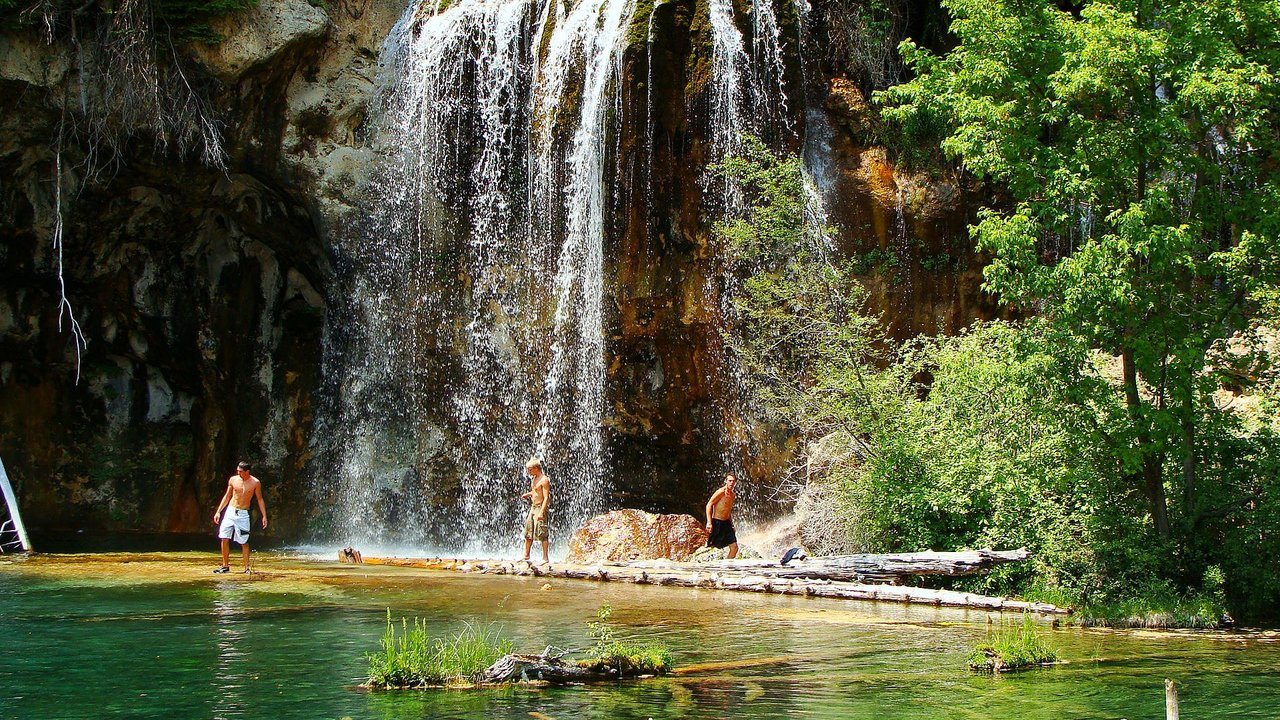People Bathing in Hanging Lake