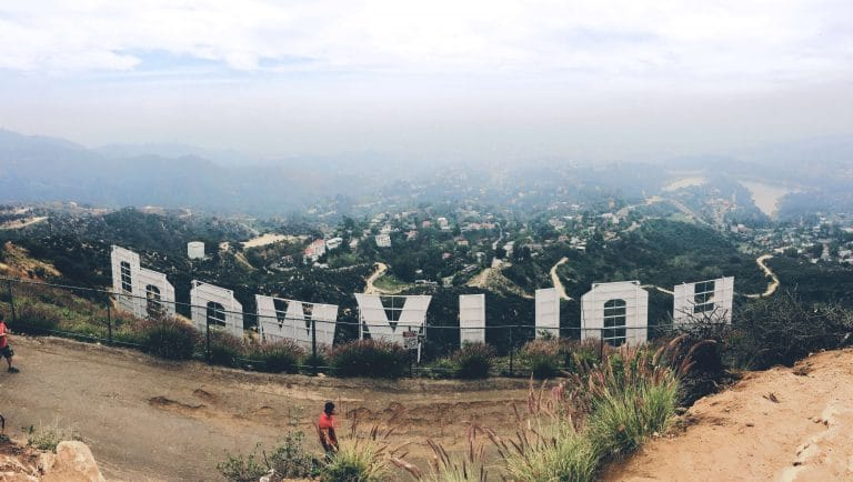 picture of the back part of hollywood sign