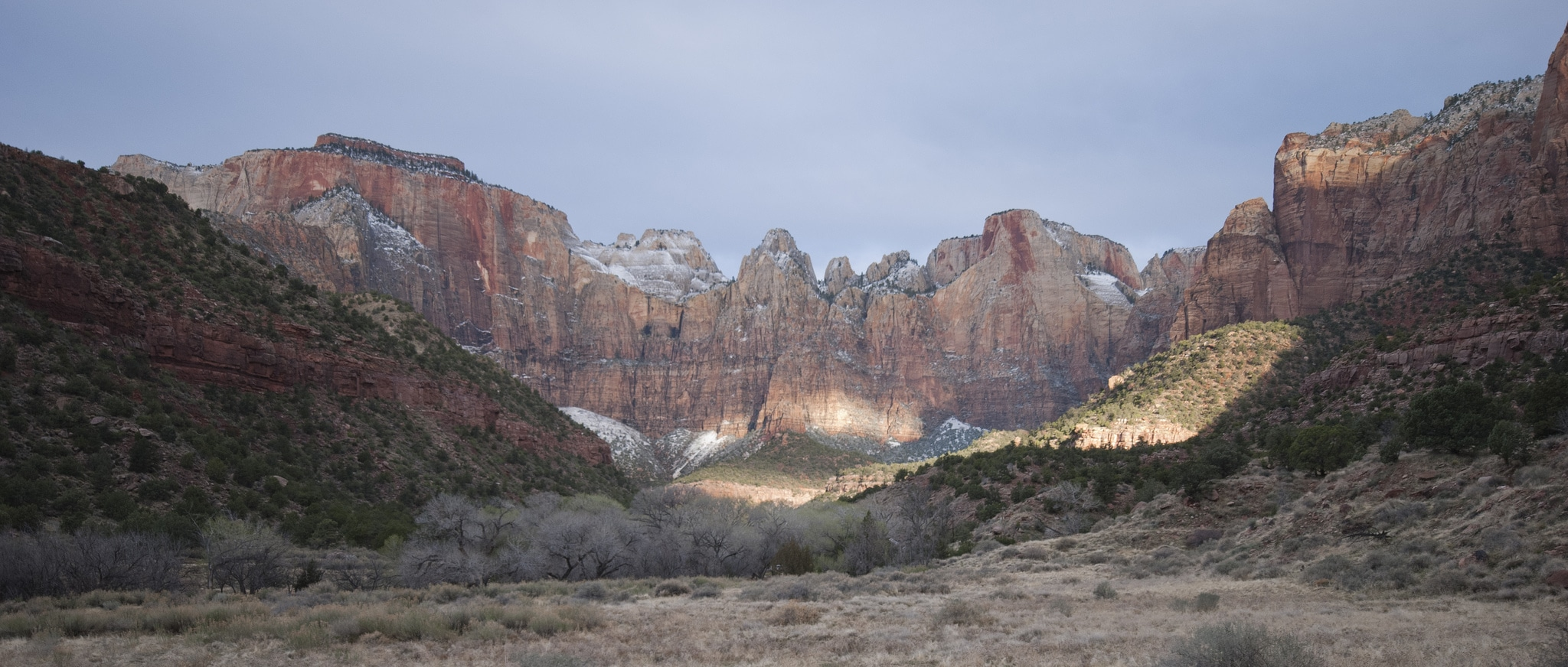 zion national park view of the canyon during sunset