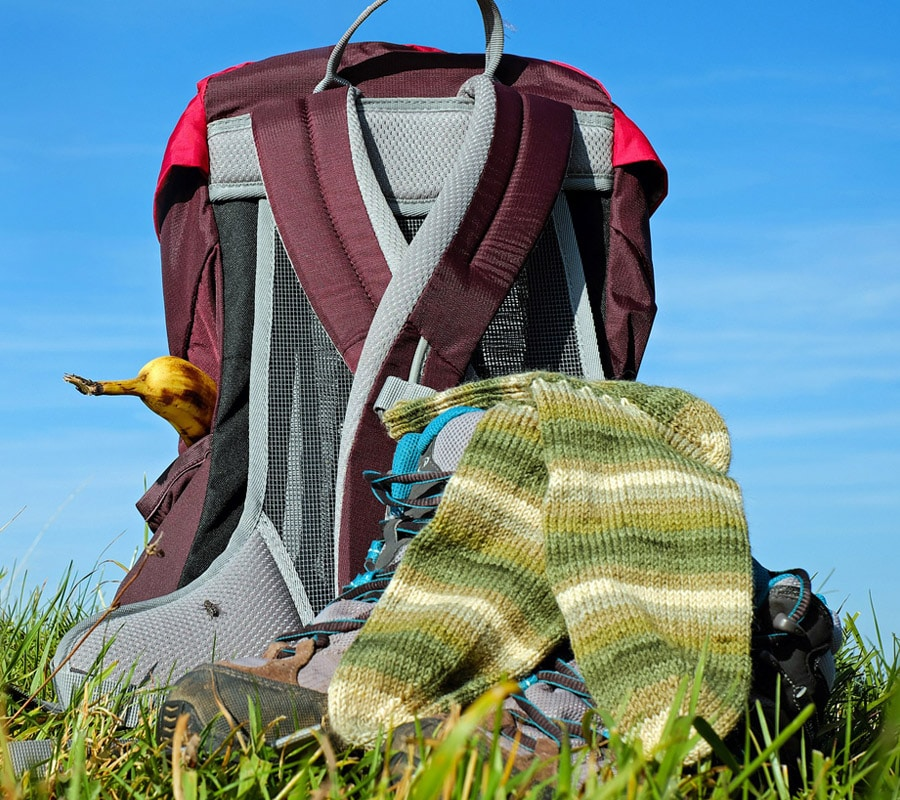 hiking gear in the ground