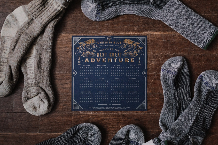 Calendar surrounded by the best hiking socks